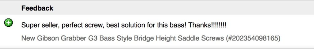 Gibson Grabber Bridge Saddle Screws